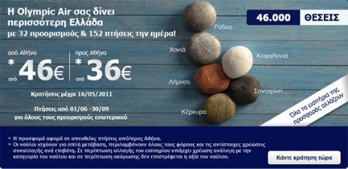 Καλοκαιρινή Προσφορά Εσωτερικού Olympic Air από 36 ευρώ